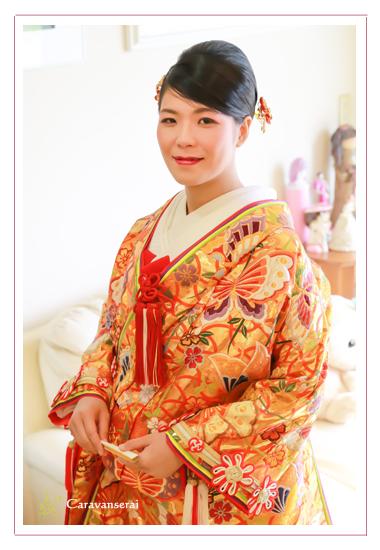 ウェディングフォト 結婚式写真撮影 婚礼写真 和装 着物 お仕度 着物 愛知県瀬戸市 深川神社 美容室 路 出張撮影