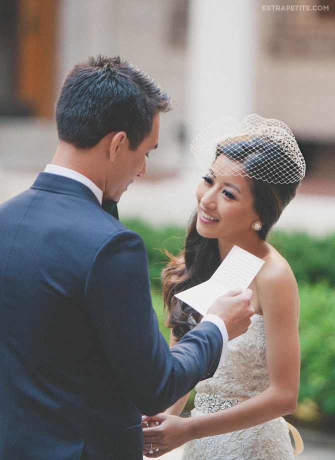 boston library courtyard wedding vows