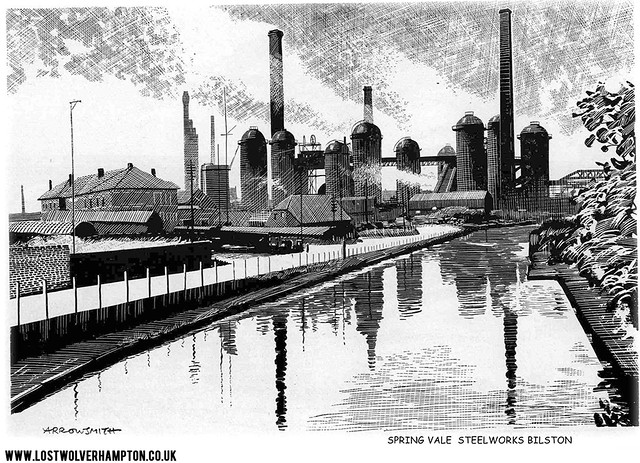 Arthur Arrowsmith's evocative pen & inks drawing of Springvale Funaces circa 1950 With the opening of the Birmingham to Wolverhampton Canal in 1770 industrial activity in the Bilston area increased, and by 1780 the first blast furnaces were in use In 1866 the Hickman family acquired the works then known as the Springvale Furnaces Ltd. and at that time there were three square old type brick furnaces known locally as 'The Hot Holes' on the site.