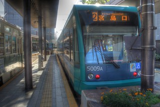 Tramcars at Hiroshima Station in morning on OCT 28, 2015 (1)