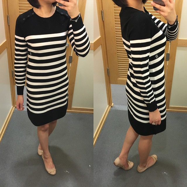 LOFT Striped Button Sweater Dress, size XXSP