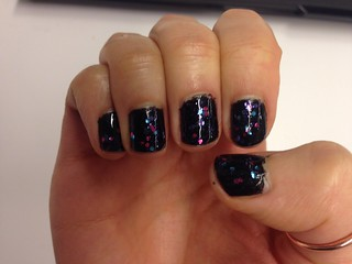 "Nails: SH ""Cheery on Top"" over WNW Black"