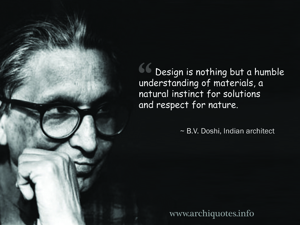 Architecture Quotes Enchanting BV Doshi