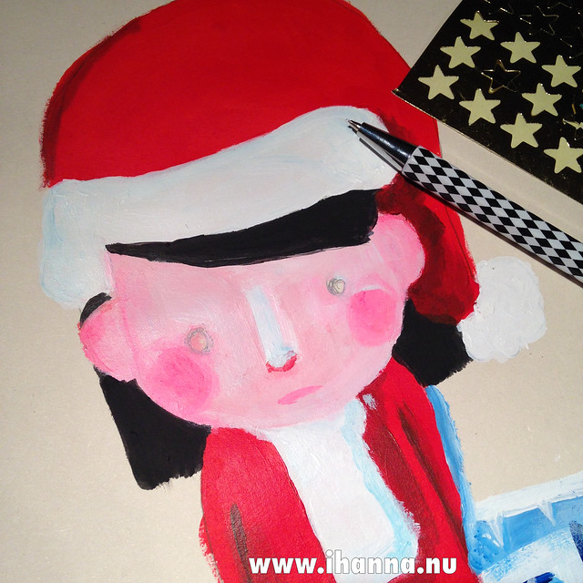 Christmas painting: Lonely Santa Lady WIP drawing by iHanna