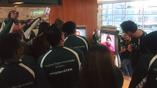 Group or MSU Urban STEM interacting with a telepresence tool