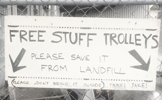 Free stuff trolleys sign - South Hobart Tip Shop