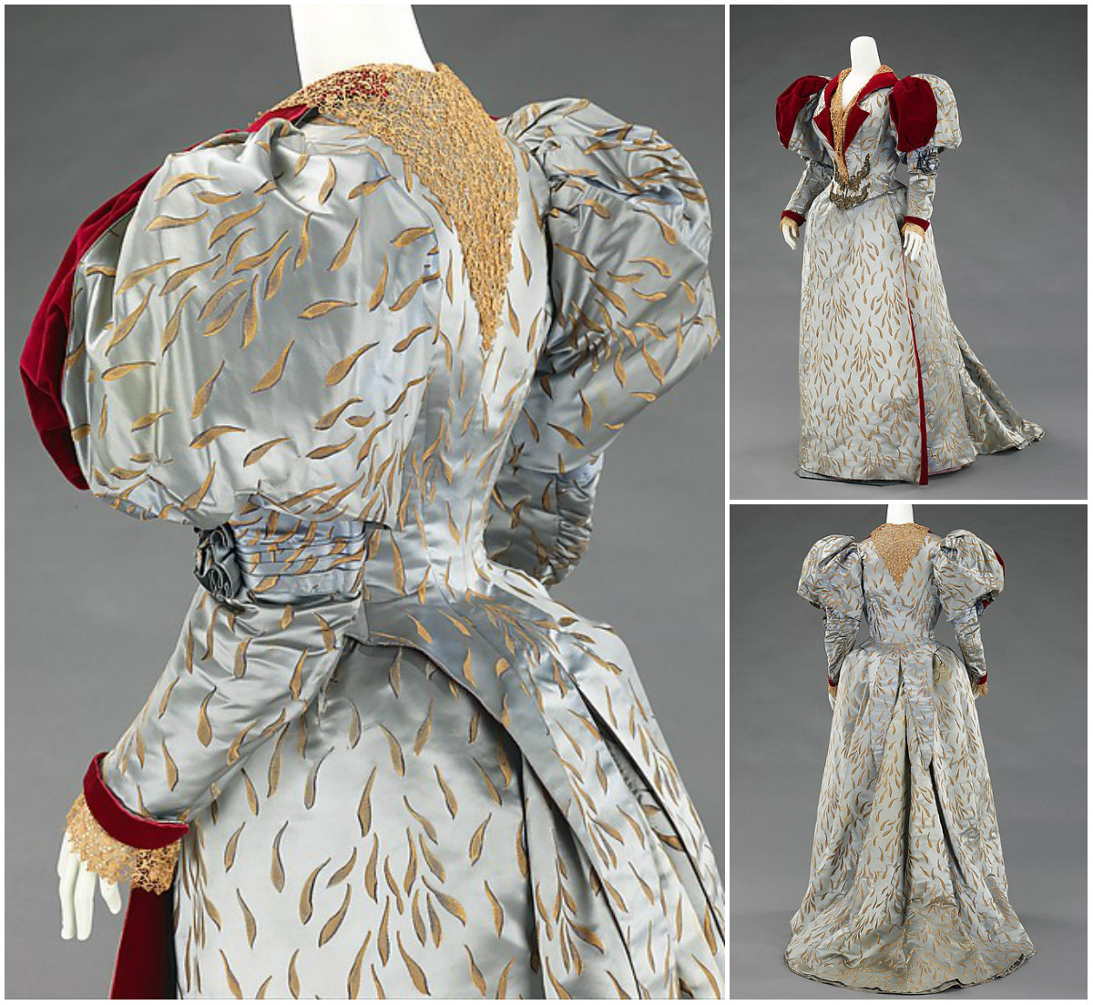 1893 Evening Ensemble. Silk, linen, metal. metmuseum
