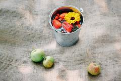 Ripe strawberries and raspberries floating in the…