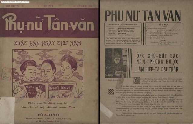 Phụ Nữ Tân Văn, Số 176 - 10 Tháng Mười Một 1932 (1) - Ông chủ bút báo Nam-Phong được làm Hiệp-tá Đại thần