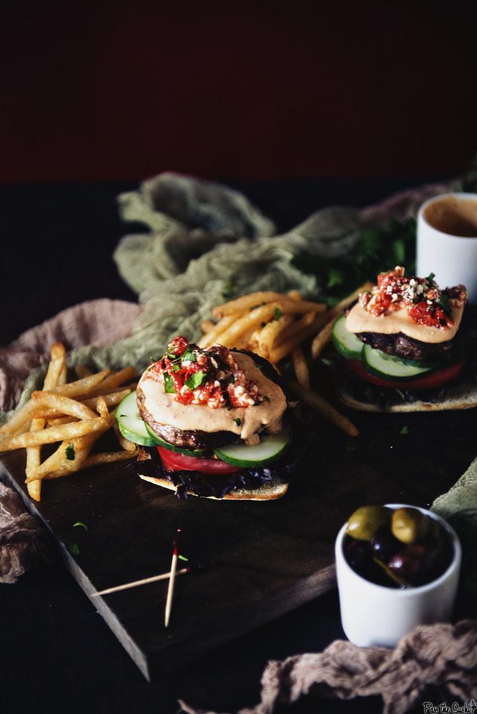 Roasted Red Pepper Hummus Lamb Burger