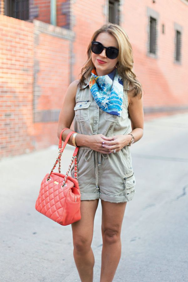 Safari romper + silk scarf