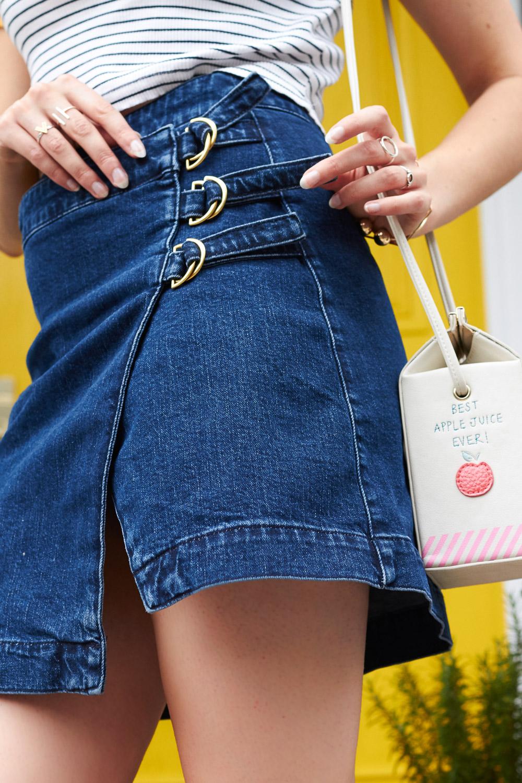 denim wrap skirt with D-ring detail asos