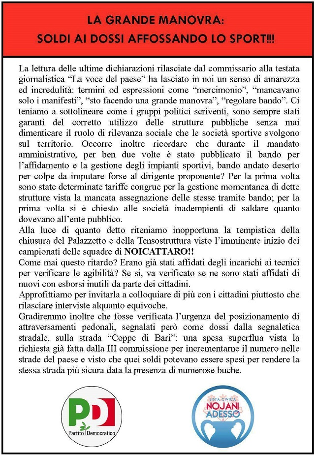 Noicattaro. Manifesto Pd-Nojani intero