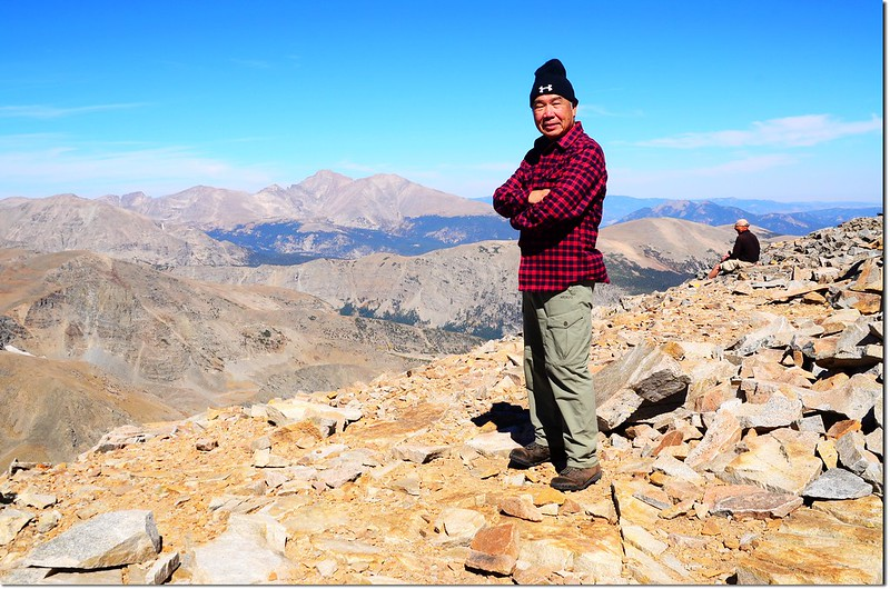 Me on the summit of Mount Audubon, background are Longs Peak & Mount Meeker