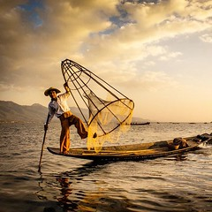 Acrobatic fisherman of Inle Lake, Myanmar at sunset. #travel #myanmar #sunset