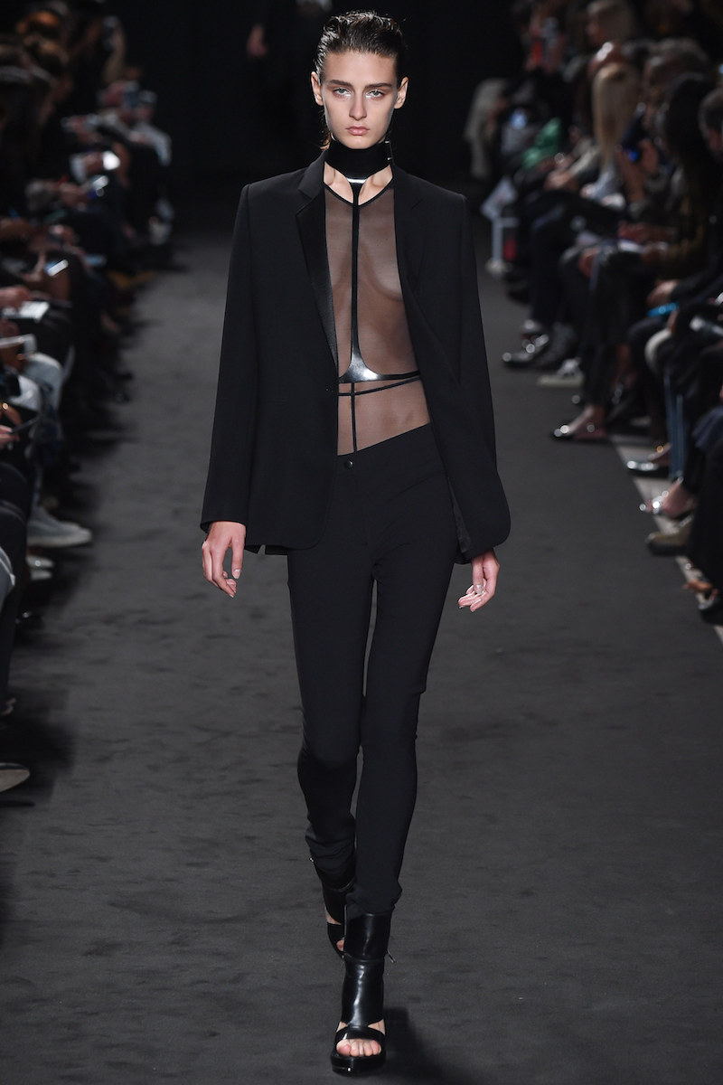 ANN D SS16 sheer top under suiting leather accents mesh minimal MODERN LEGACY