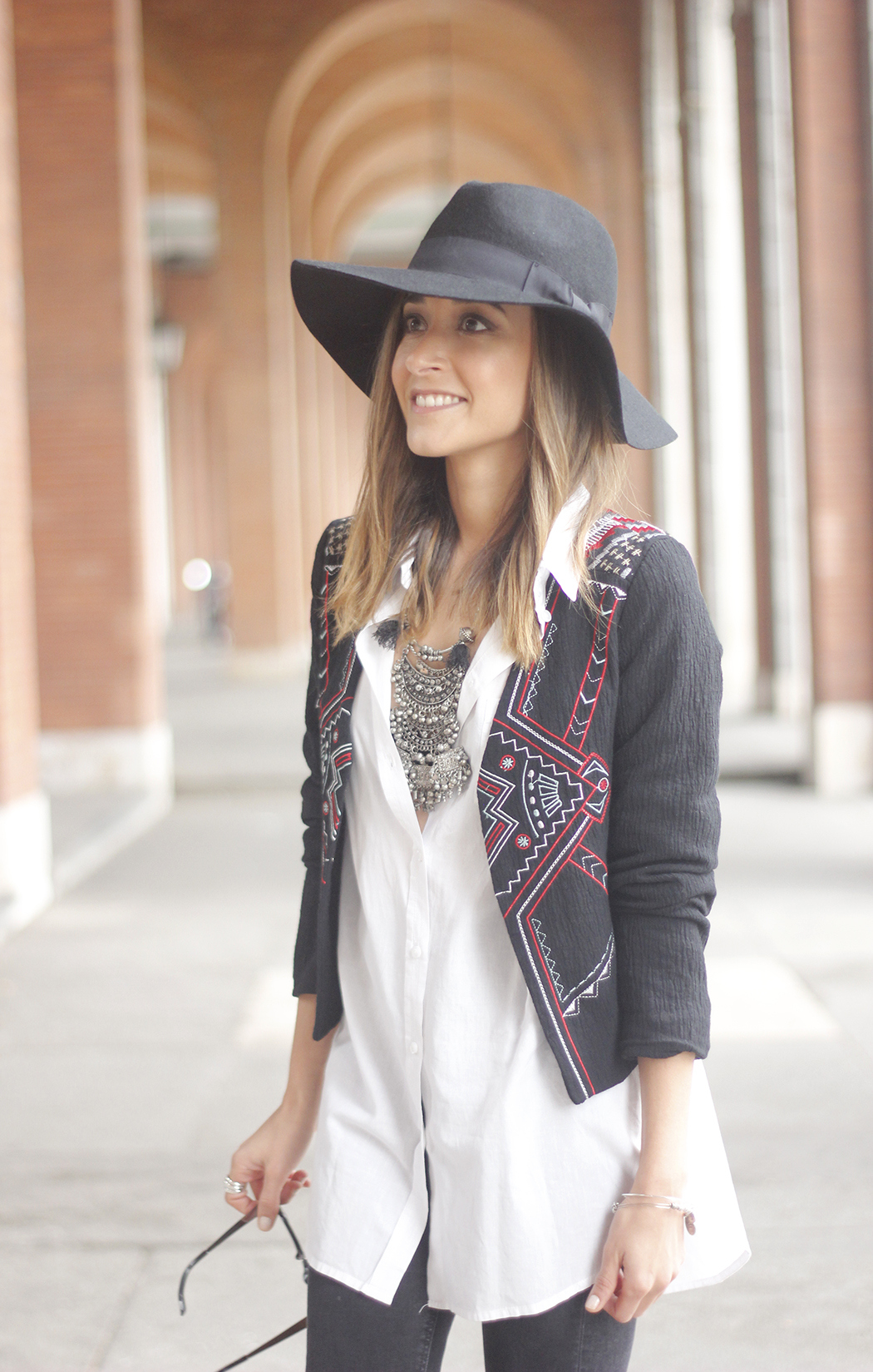 embroidered jacket black ripped jeans hat parfois red shoes outfit11