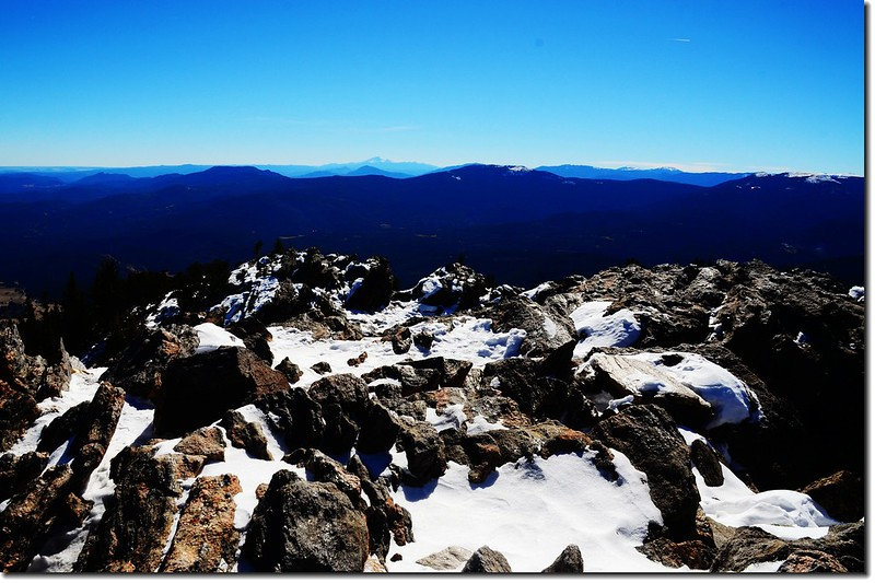 Overlooking northeast onto Pikes Peak from the summit of Chief Mountain 1