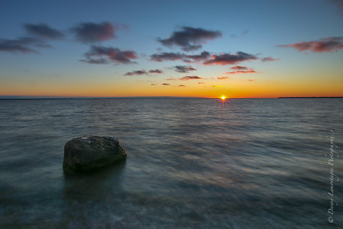 blue sunset water rock soleil
