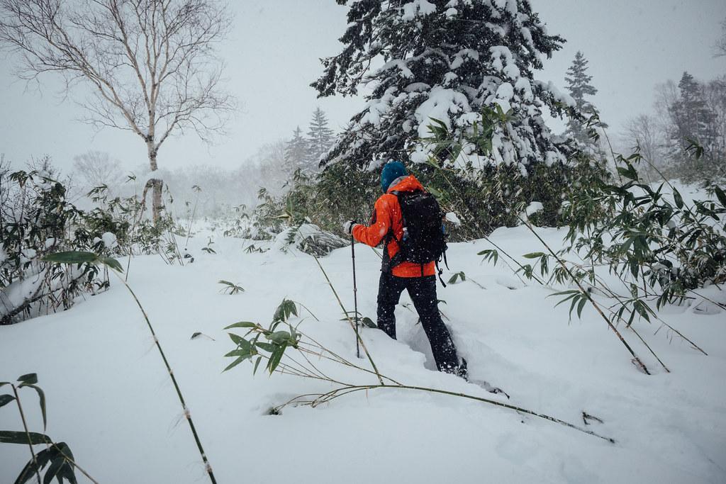 Snowshoeing near Nakayama Pass (Nakayama-toge) in November (Hokkaido, Japan)
