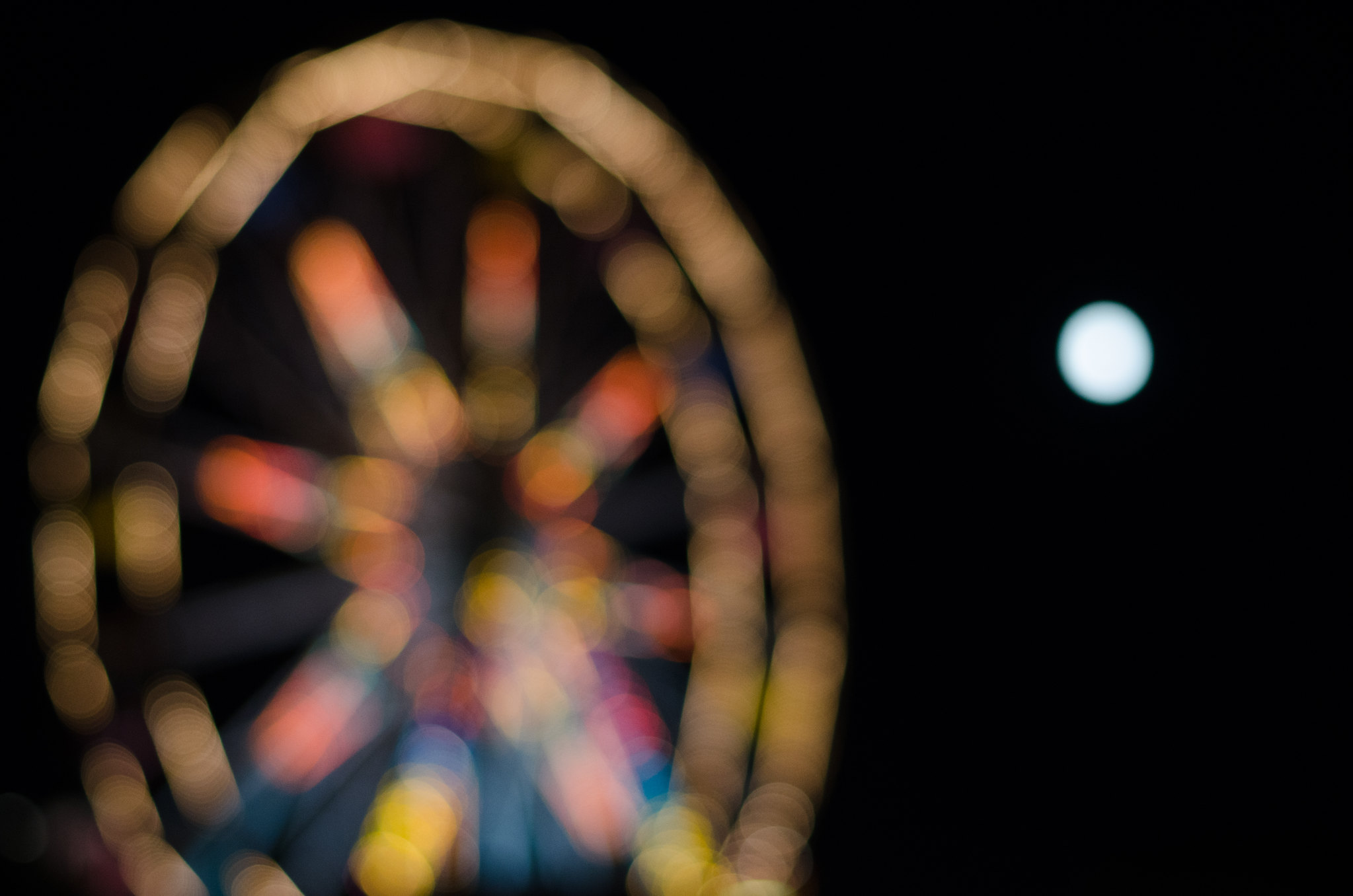 Bokeh Ferris Wheel and Moon at the Farmington Fair on juliettelaura.blogspot.com