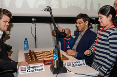 Carlsen vs Anand - and the little girl, Anum Sheikh, presses the clock too!