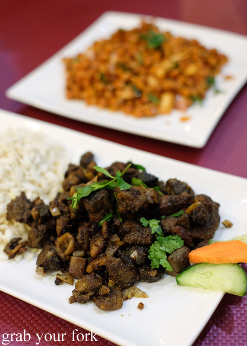 Bhutun Chur goat liver and intestine with crunchy rice flakes at Annapurna Nepalese and Indian Restaurant, Homebush Sydney food blog review