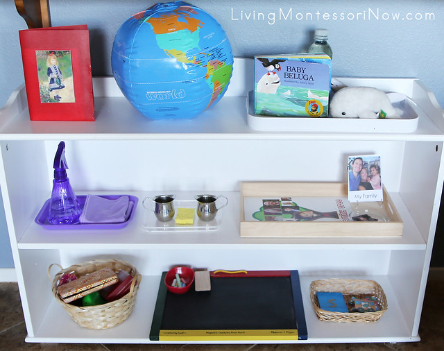 Montessori Shelves for a 2 Year Old with Beginning Art Postcard Matching