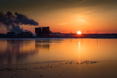 sunrise midland cogeneration gasfired orange beautiful synchronicity industrial ugly morning belches filth sky clouds powerline canoneos5dmarkiv michigan consumersenergy powerplant abandoned lake coolingwater winter february steam