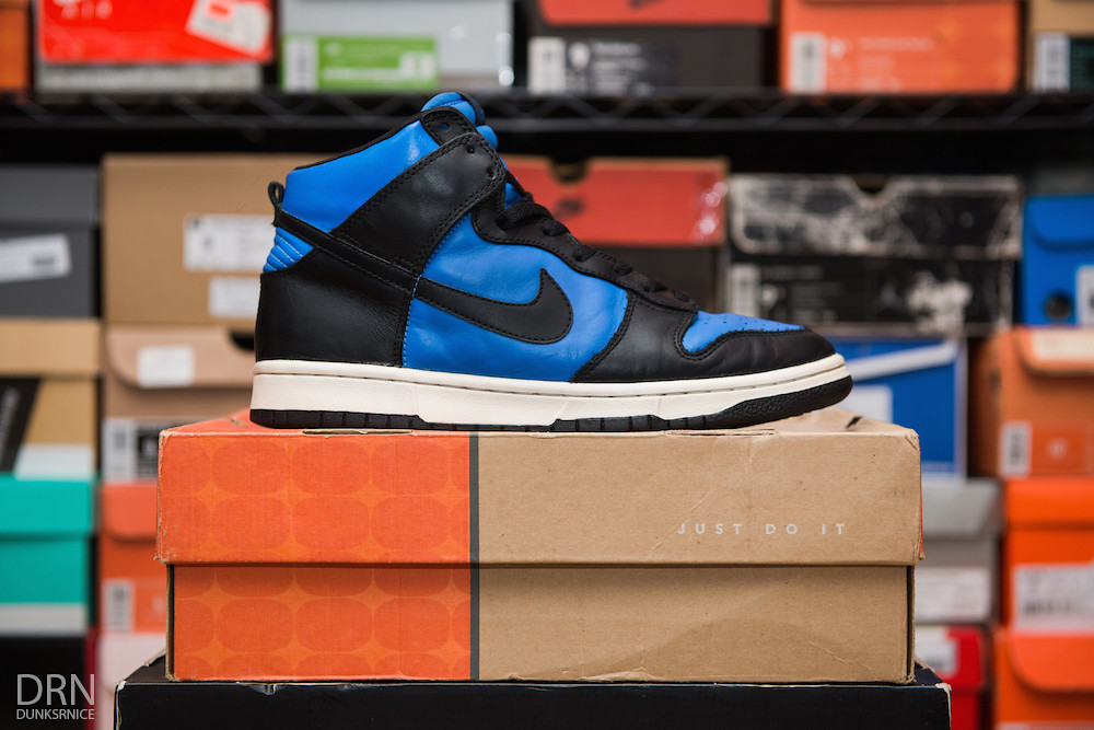 Spark Blue Dunk Highs.