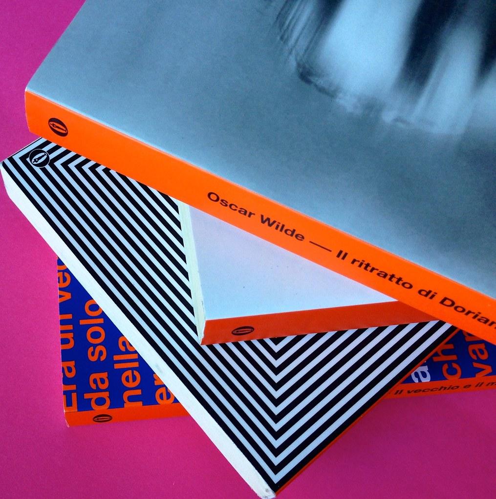 Oscar Mondadori / ied: edizione speciale di 10 titoli per i 50 anni degli Oscar. Art direction: Giacomo Callo. Copertina e dorsi di 4 titoli (part.) 5