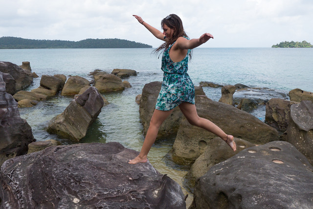Koh Rong  Island me jumping on rocks on beach best place in Cambodia
