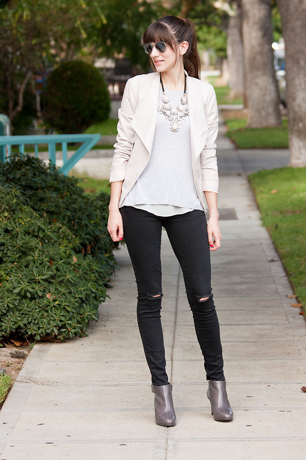 Naturalizer Shoes, Grey Suede Booties, Blush Asymmetrical Jacket, Black Denim