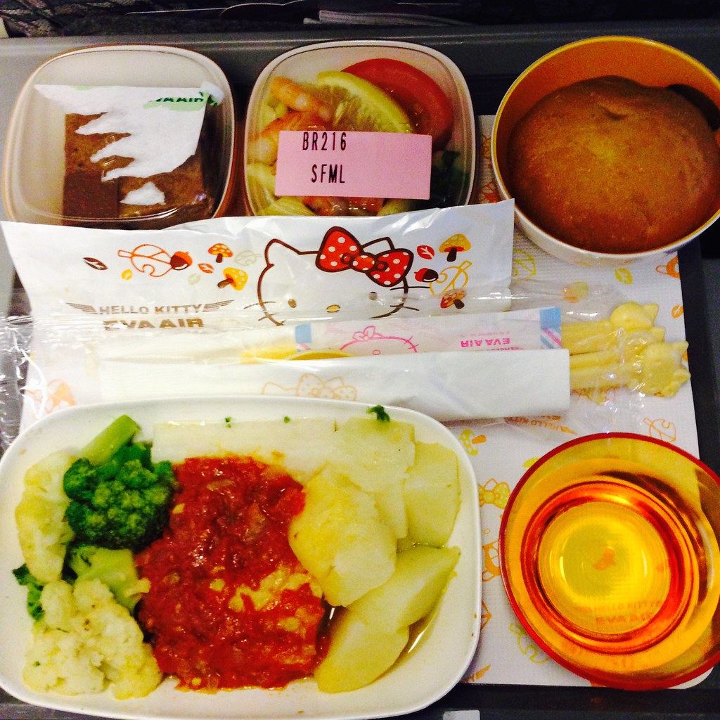 Seafood meal on EVA Air Hello Kitty Jet