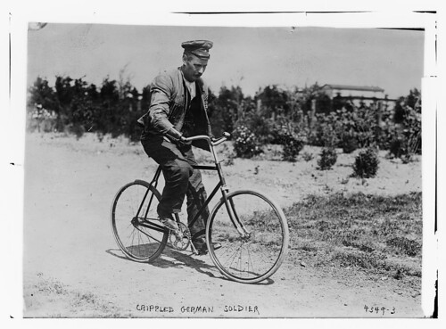 Crippled German soldier [on bicycle] (LOC)