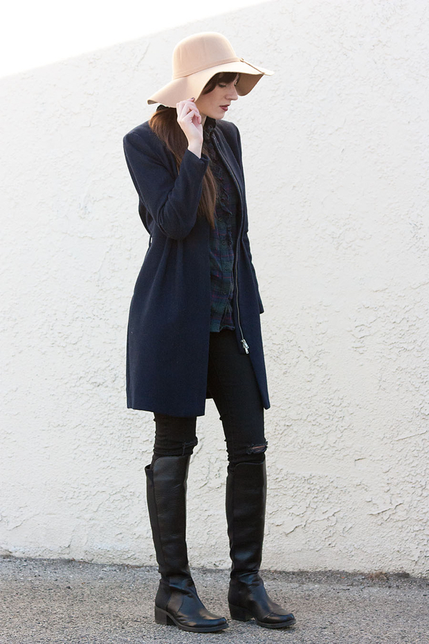 Winter Hat, Winter Layers, Long Navy Coat, Knee High Boots