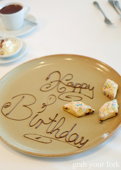 Happy Birthday petit fours biscuits by Pilu at Freshwater, Sydney