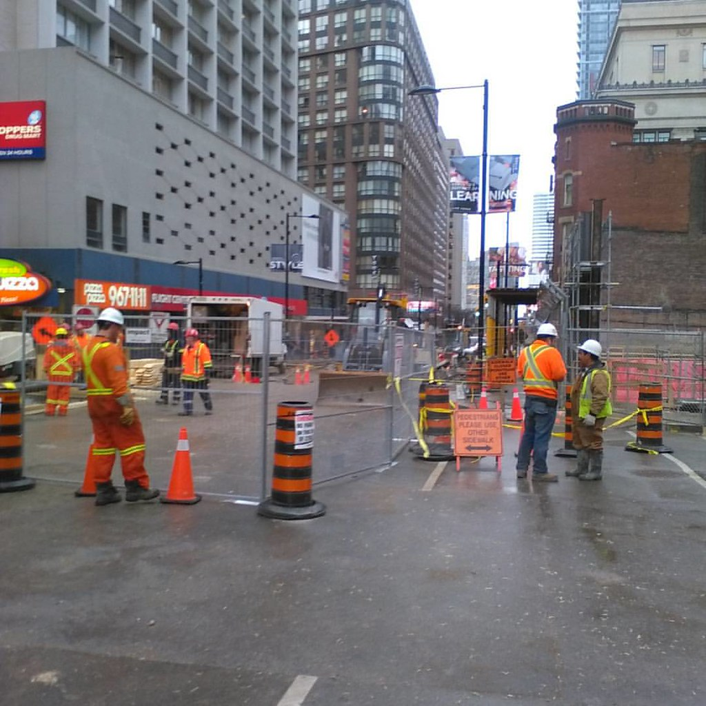 Closed for repairs #toronto #yongestreet #collegestreet #sinkhole