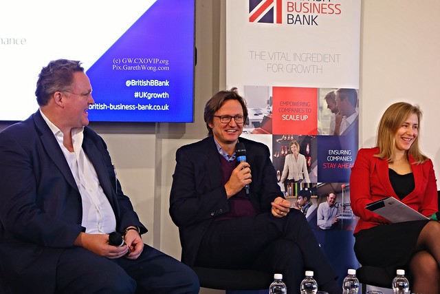 Happy panel: Ewan Stradling Founder BMS Finance, Haakon Overli is a Managing Partner and General Partner at Dawn Capital & Rebecca McNeil MD lending and enterprise at Barclays Bank on panel from RAW _DSC8042 @RebeccaMcNeilBB @HaakonOverli at @BritishBBank