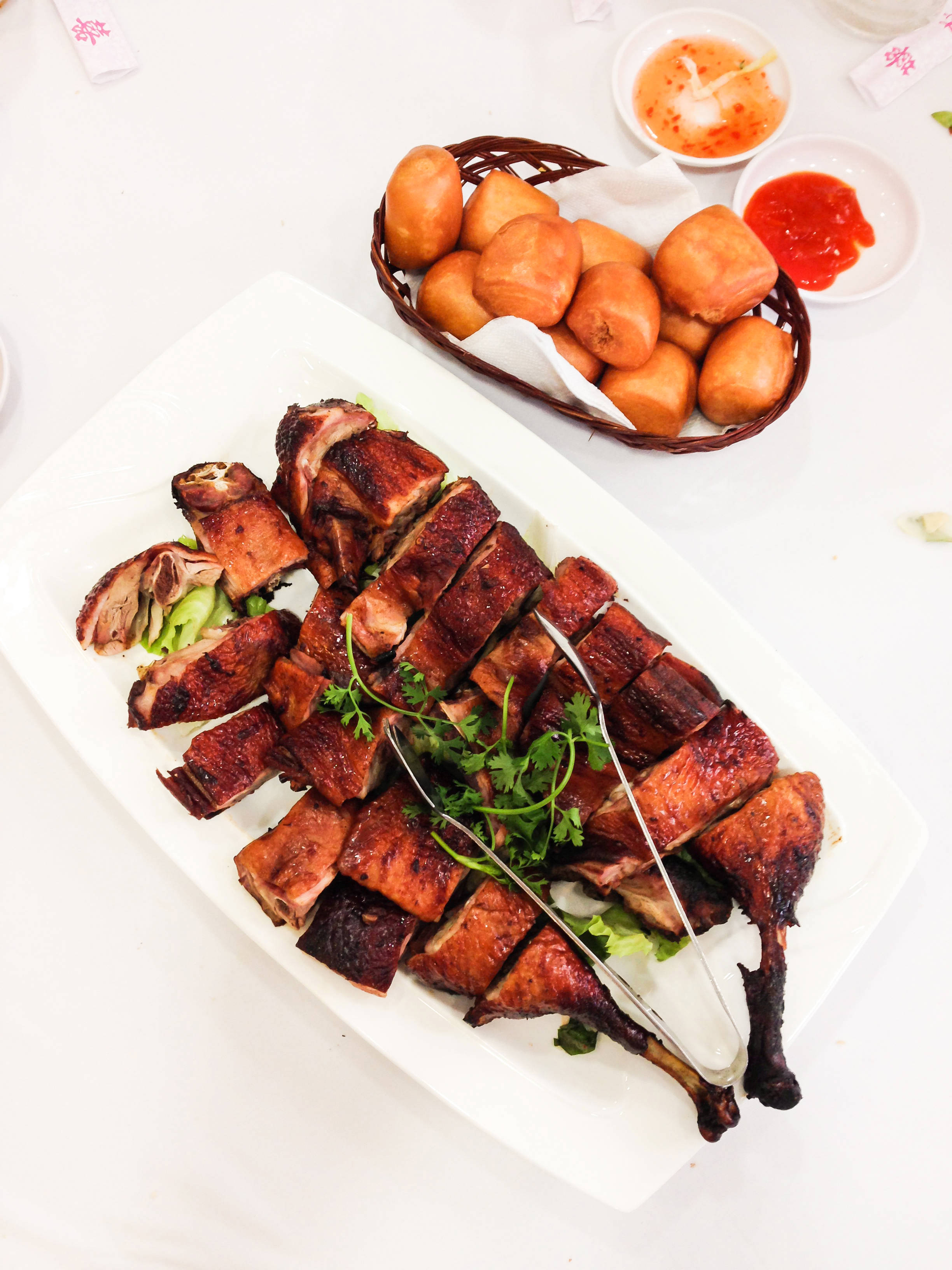 Roasted duck with honey and buns