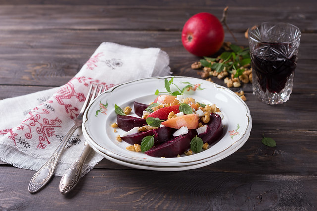 Beet salad with apples, walnuts and feta cheese