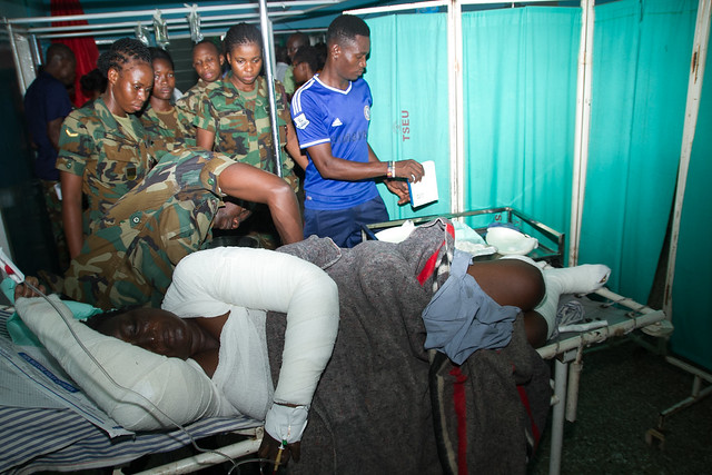 Interior Minister, Prosper Bani on behalf of President John Mahama visits victims of Thursday Gas explosion who were taken to the 37 Military and Police Hospitals.
