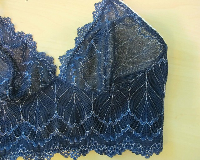 Navy Lace Watson soft bra - front flat close up