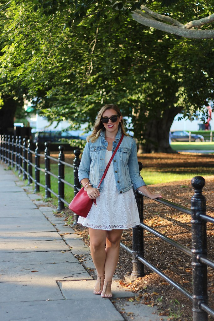 White After Labor Day | White Lace Dress & Jean Jacket