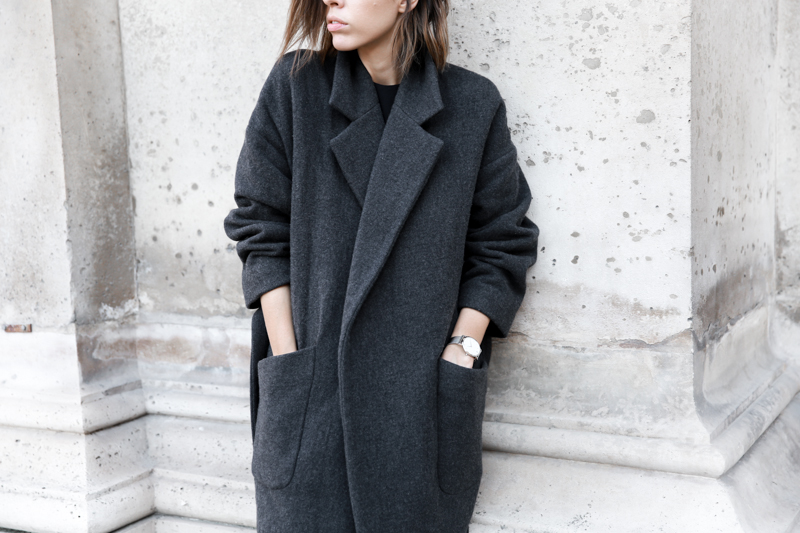 MATCHES x MODERN LEGACY RAEY new season layers Paris fashion week street style charcoal cocoon wrap coat (1 of 1)