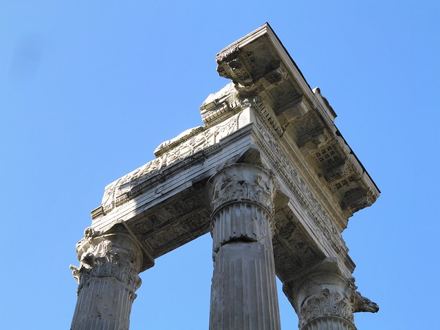The 3 re-erected columns (dating to the Augustan period) of the Temple of Apollo Sosianus, Campus Martius, Rome