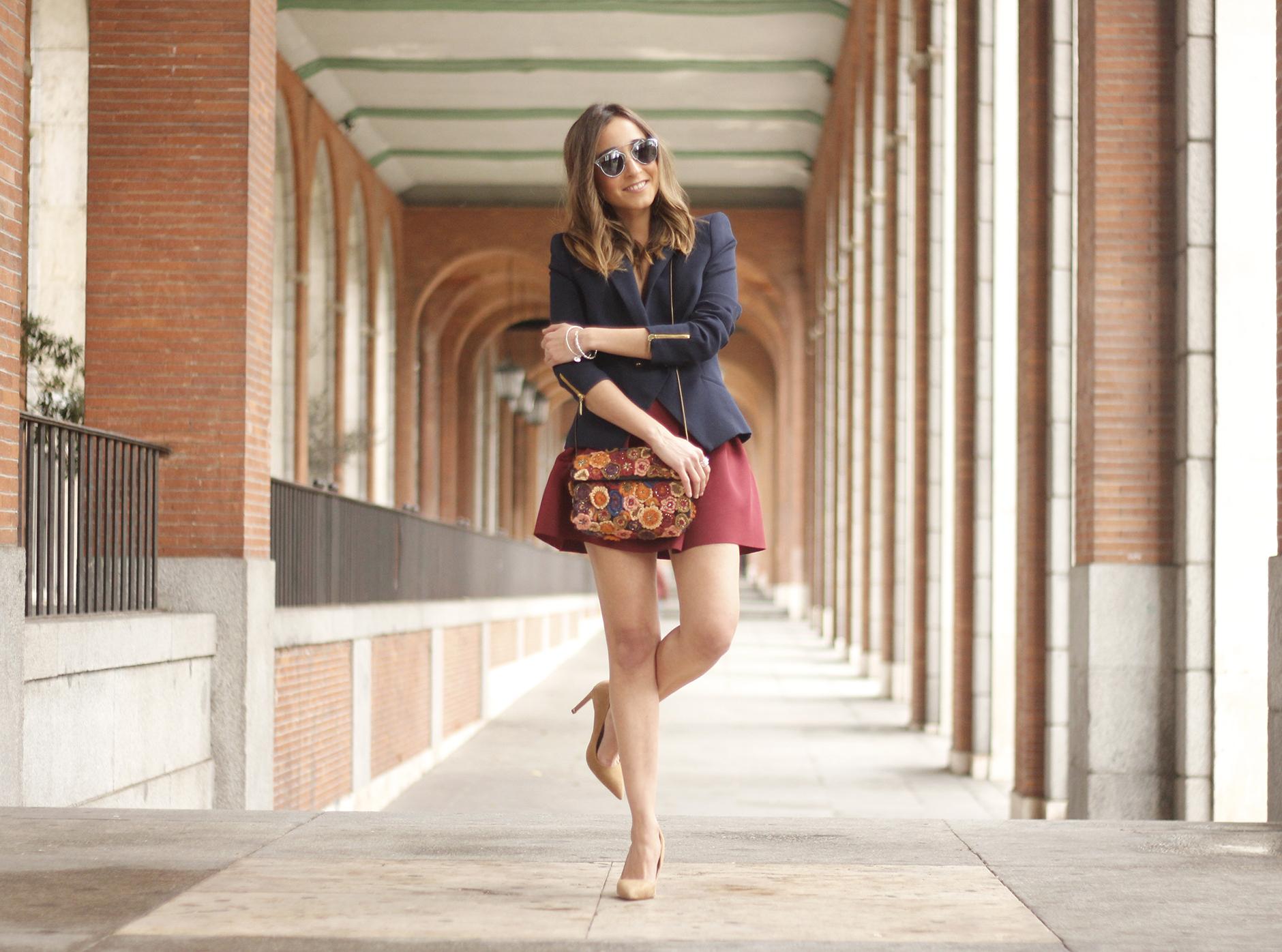 Blue Blazer Burgundy Skirt Outfit05