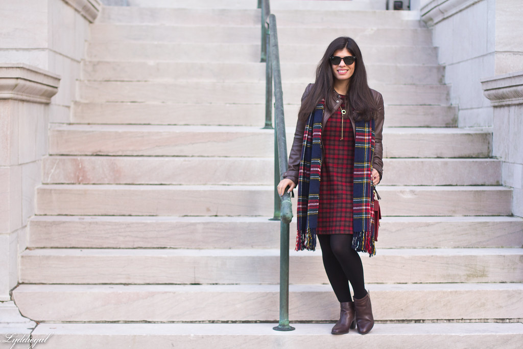 plaid dress, brown leather jacket, brown boots.jpg