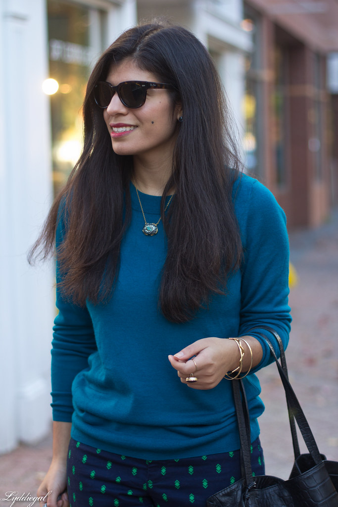 teal sweater, printed pants, ferragamo pumps-3.jpg