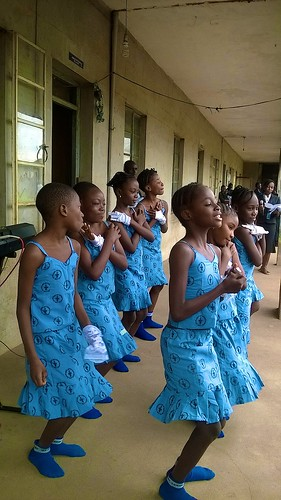 Children of St Louis Nursery and Primary School, Owo, celebrating St Louis Day and International Day of Peace